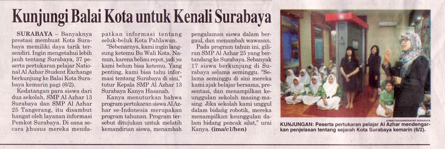 Berita-Radar-Surabaya,-hari-Sabtu,-7-februari-2015---NASEP-(National-Al-Azhar-Study-Exchange-Program)-SMPIA-13-Surabaya-dan-SMPIA-25-Pamulang-kunjungan-di-kantor-Balaikota-surabaya
