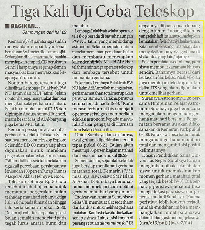 Gerhana Matahari Jawa Pos hal 29 Selasa 8 Maret 2016 isi r