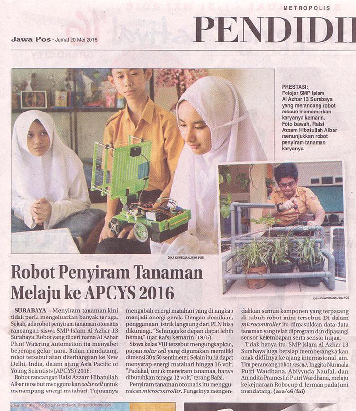 Robotik SMP, Jawa Pos, Hal 29 Jumat 20 Mei 2016r