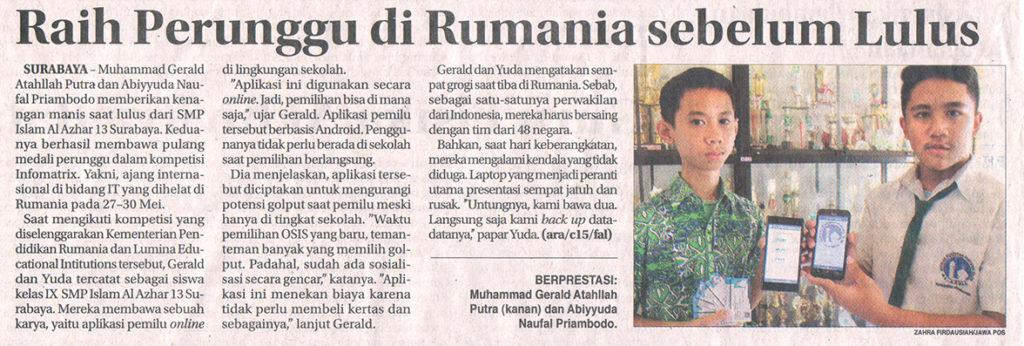 SMP Juara KIR di Rumania Jawa Pos, sabtu 16 Juli 2016 Hal 28  web