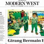 Girang Bermain Egrang - TKIA 35 Surabaya , Jawa Pos hal 23, Jumat 14 Desember 2018